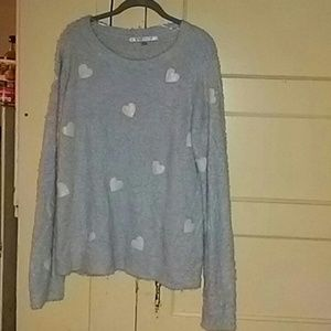 Fluffy pale baby blue heart sweater